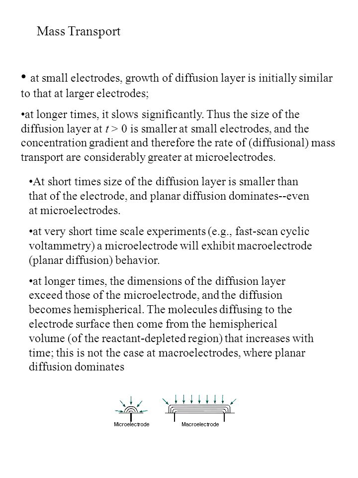 Mass Transport at small electrodes, growth of diffusion layer is initially similar to that at larger electrodes;