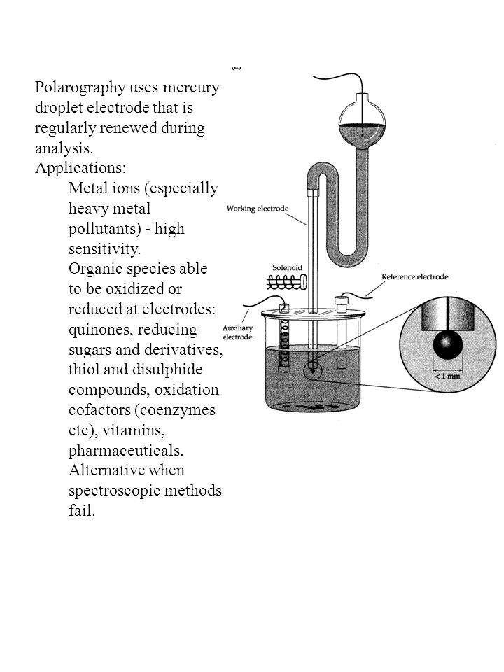 Polarography uses mercury droplet electrode that is regularly renewed during analysis.