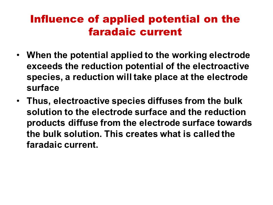 Influence of applied potential on the faradaic current