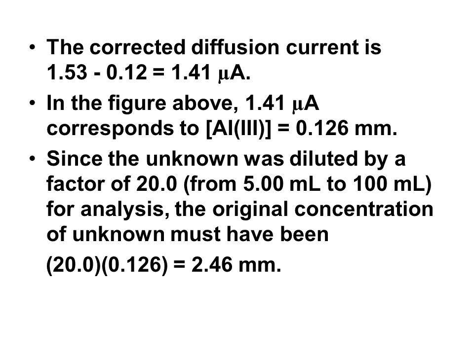 The corrected diffusion current is 1.53 ‑ 0.12 = 1.41 µA.