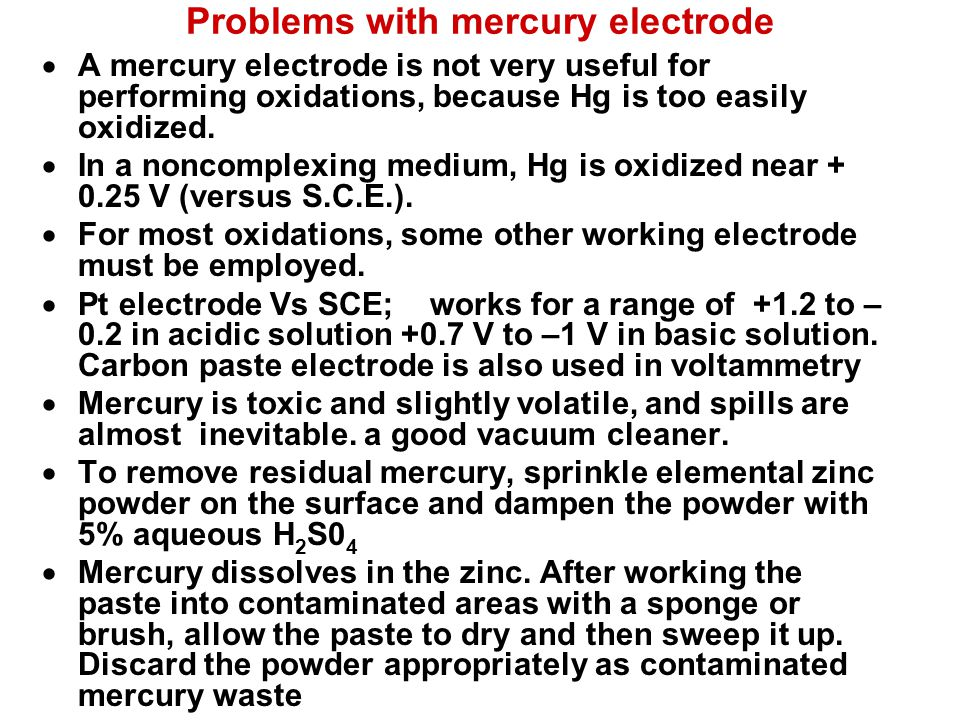 Problems with mercury electrode