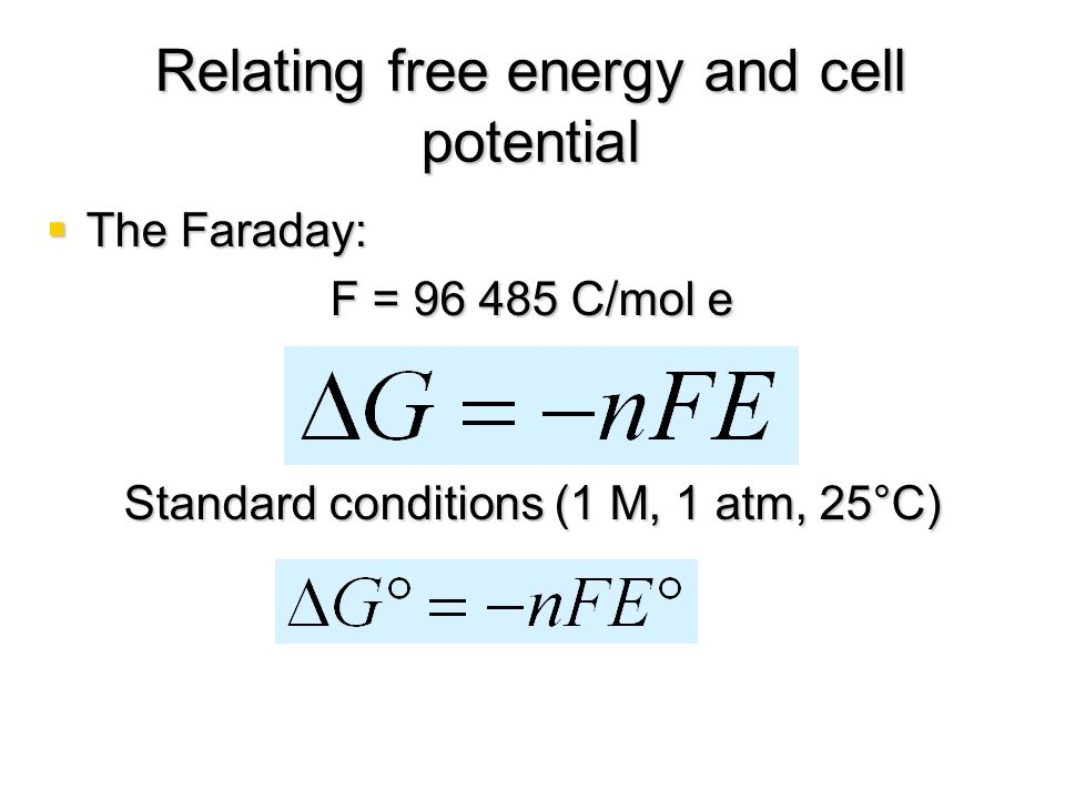 Relating free energy and cell potential