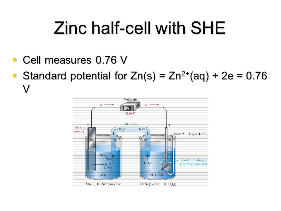 Zinc half-cell with SHE