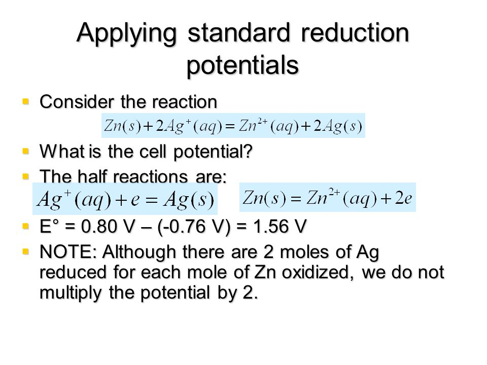 Applying standard reduction potentials