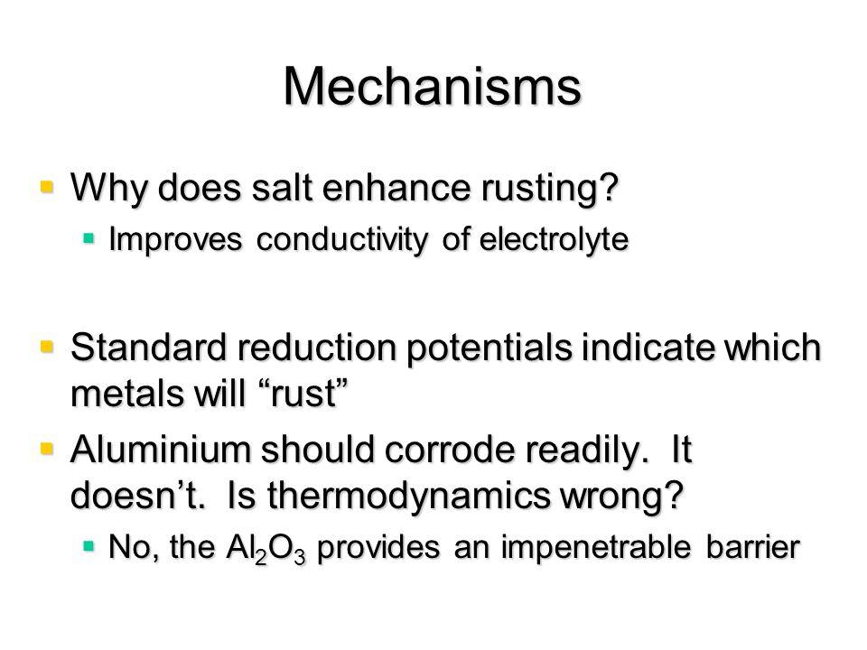 Mechanisms Why does salt enhance rusting