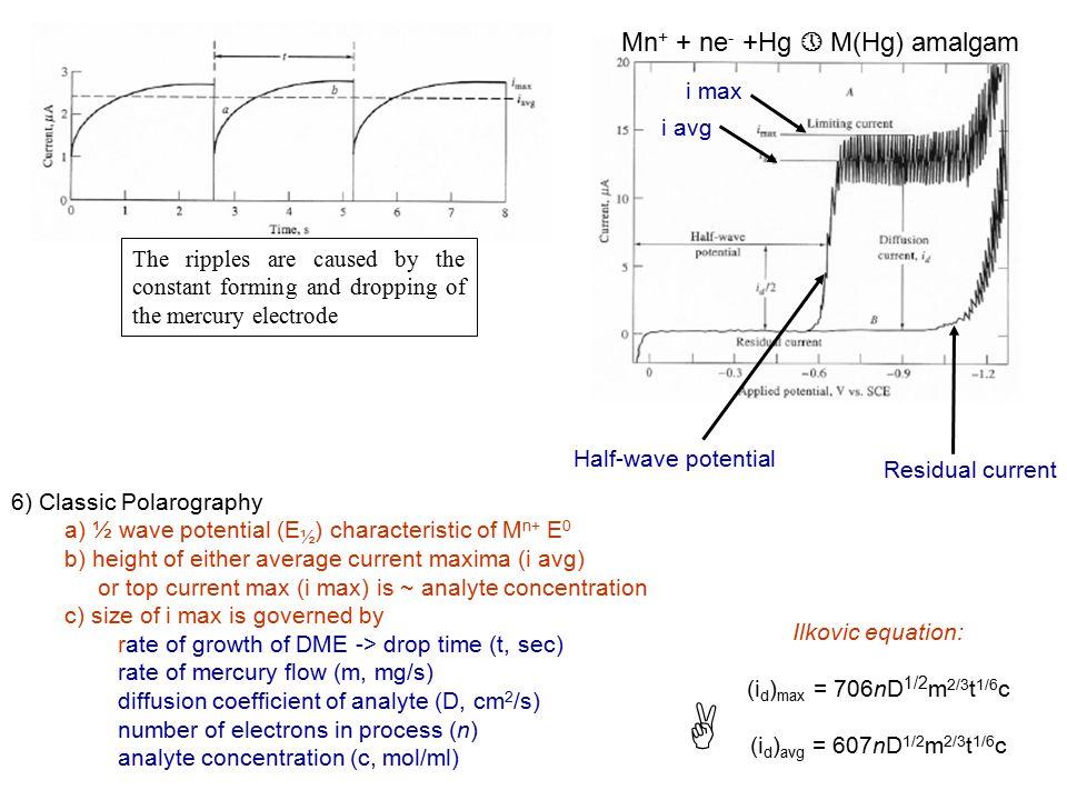 A Mn+ + ne- +Hg » M(Hg) amalgam i max i avg
