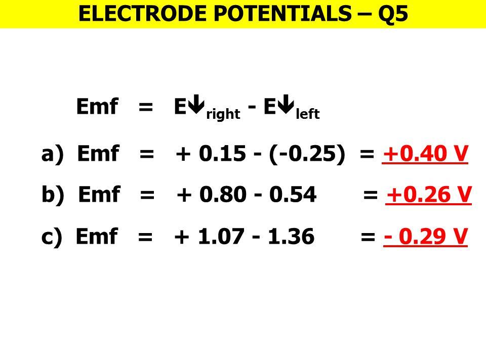 ELECTRODE POTENTIALS – Q5