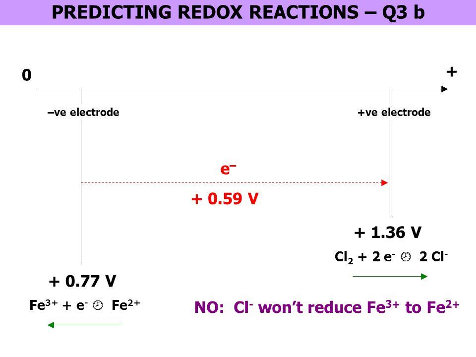 PREDICTING REDOX REACTIONS – Q3 b