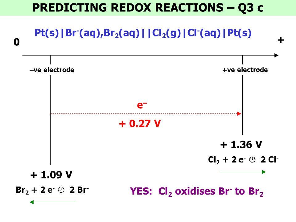 PREDICTING REDOX REACTIONS – Q3 c