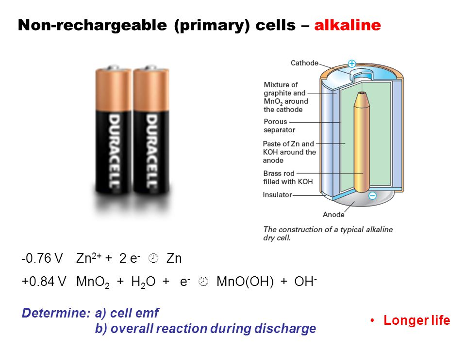 Non-rechargeable (primary) cells – alkaline