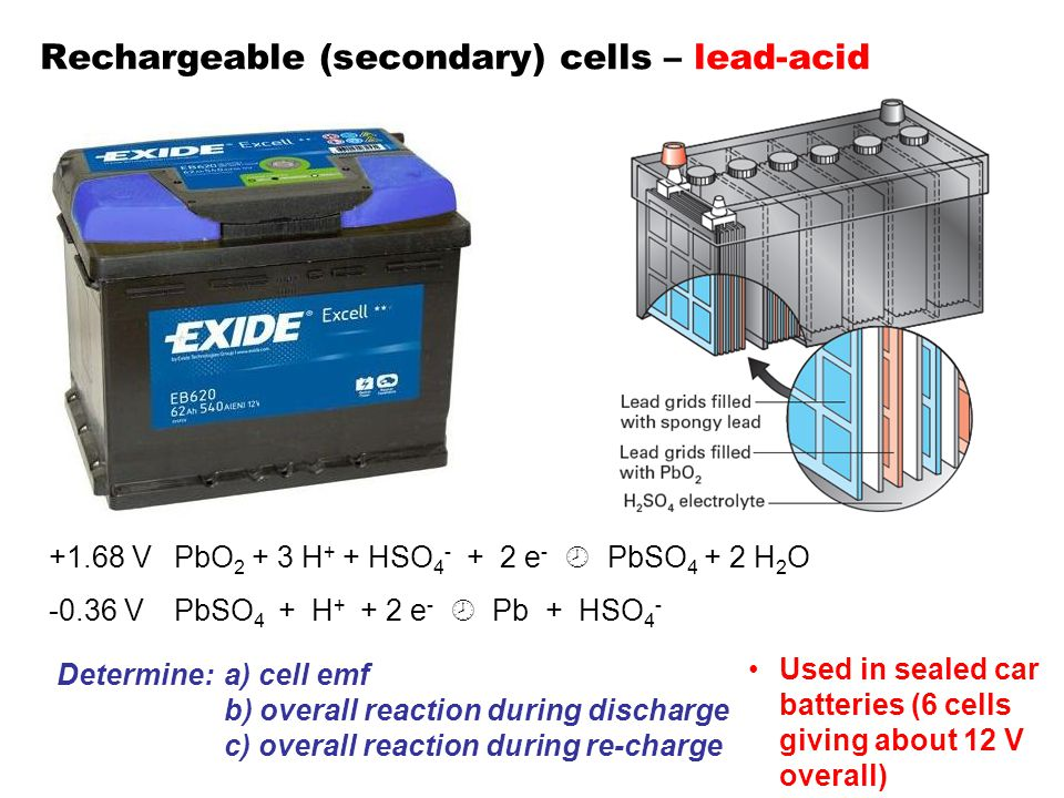 Rechargeable (secondary) cells – lead-acid