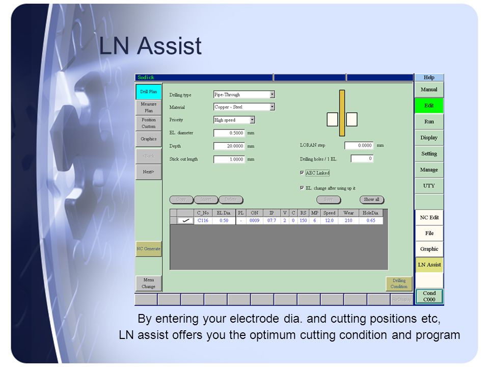 LN Assist By entering your electrode dia. and cutting positions etc,