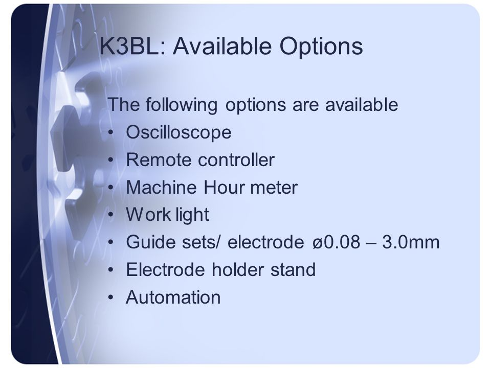 K3BL: Available Options