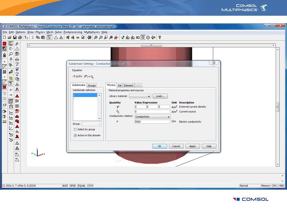 Set the material properties in the Subdomain Settings dialog box.