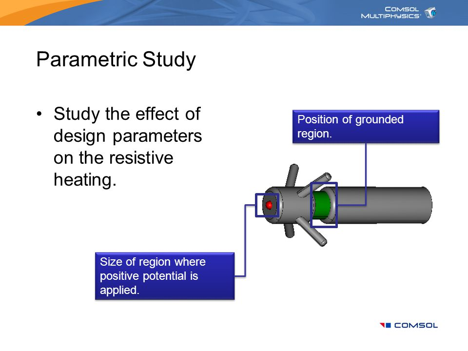 Parametric Study Study the effect of design parameters on the resistive heating. Position of grounded region.