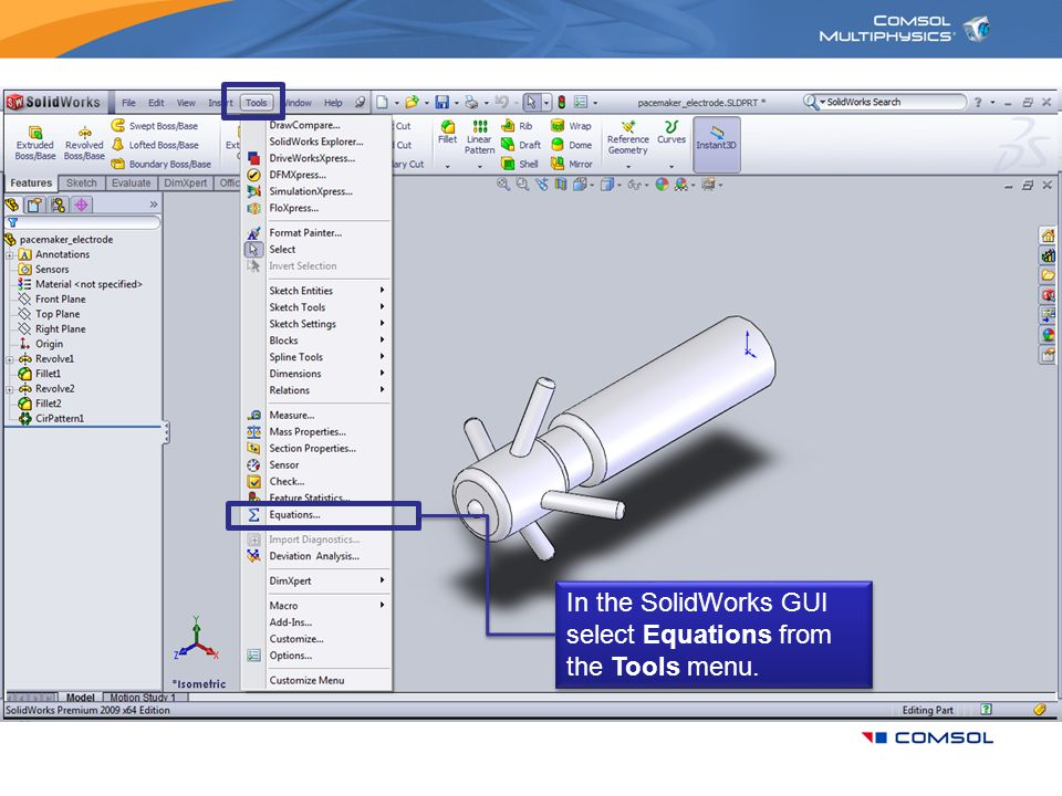 In the SolidWorks GUI select Equations from the Tools menu.
