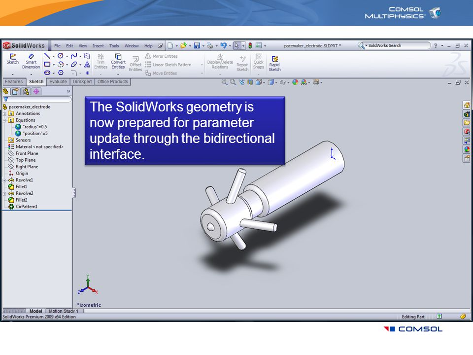 The SolidWorks geometry is now prepared for parameter update through the bidirectional interface.