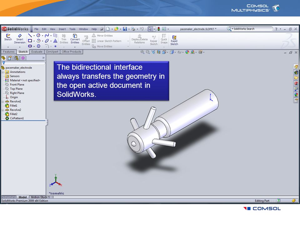 The bidirectional interface always transfers the geometry in the open active document in SolidWorks.