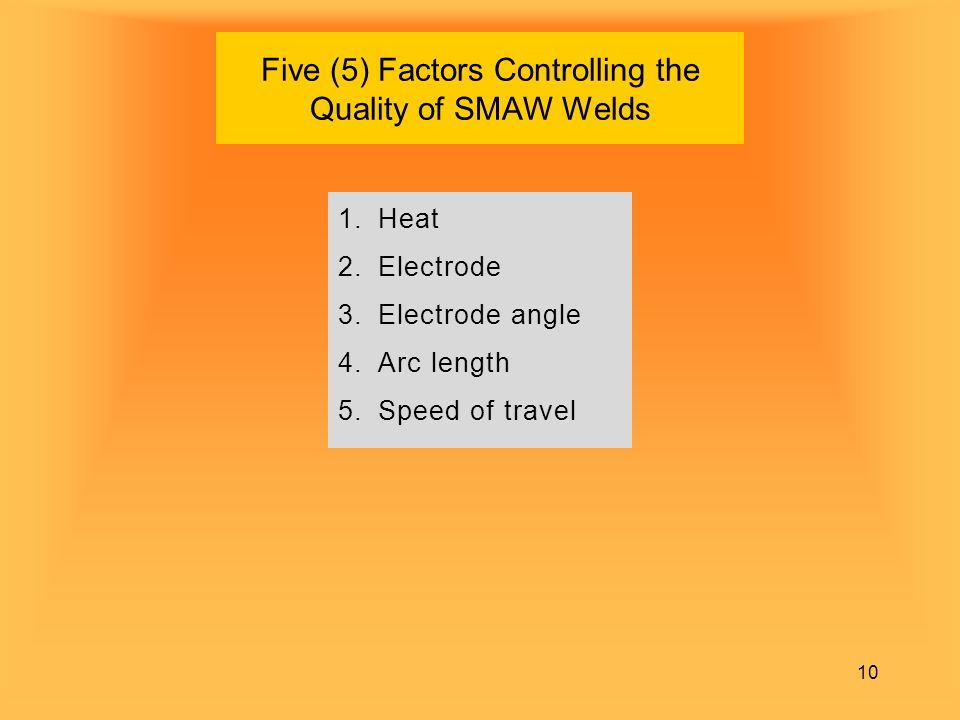 Five (5) Factors Controlling the Quality of SMAW Welds
