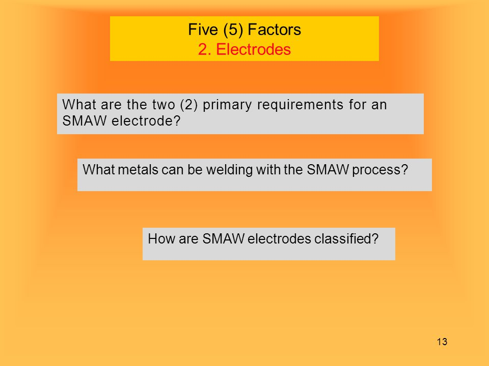 Five (5) Factors 2. Electrodes