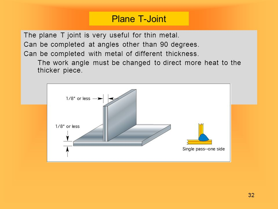 Plane T-Joint The plane T joint is very useful for thin metal.