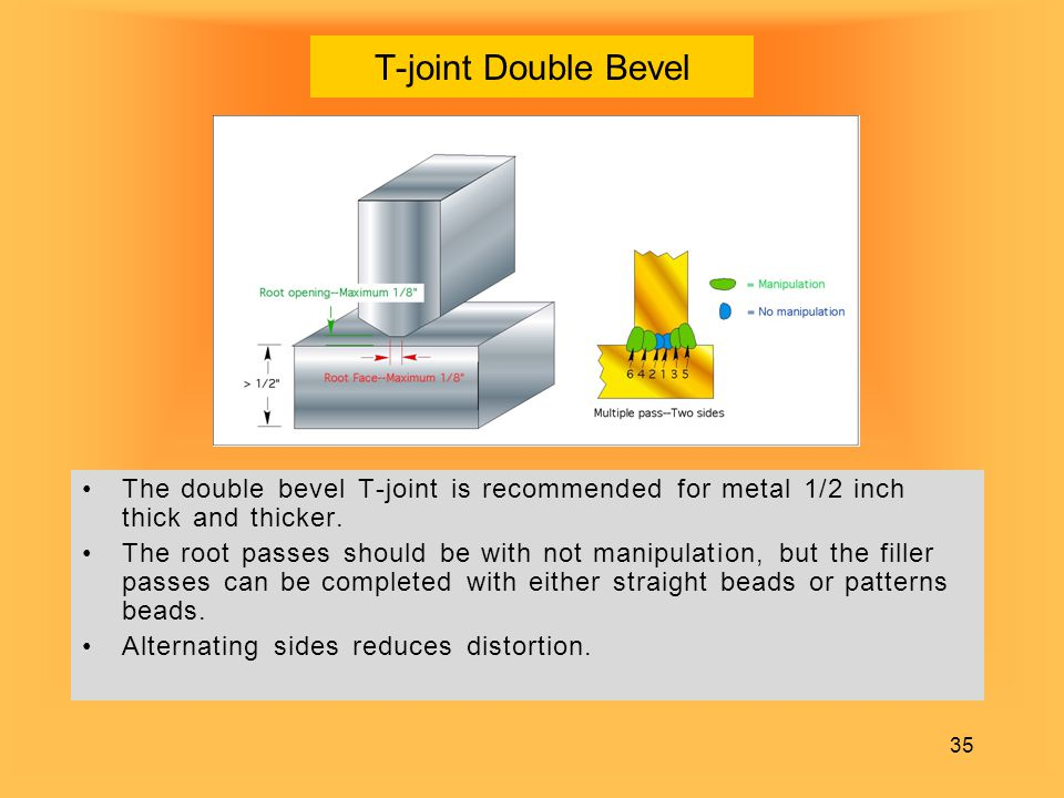T-joint Double Bevel The double bevel T-joint is recommended for metal 1/2 inch thick and thicker.