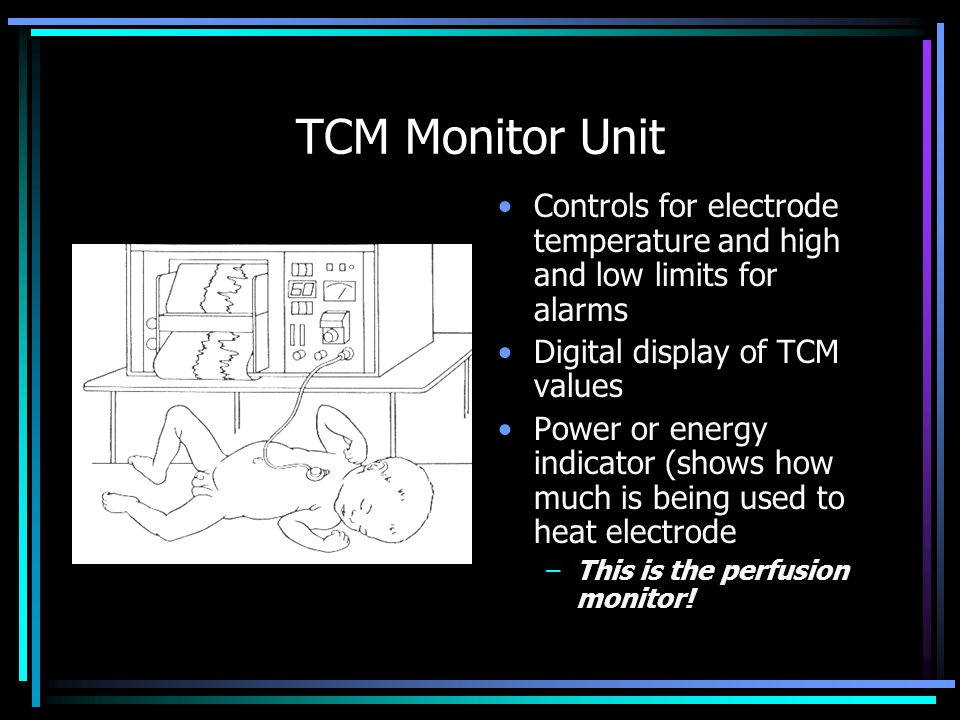 TCM Monitor Unit Controls for electrode temperature and high and low limits for alarms. Digital display of TCM values.