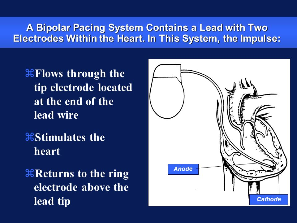 Flows through the tip electrode located at the end of the lead wire
