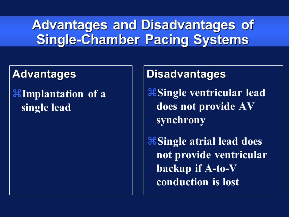 Advantages and Disadvantages of Single-Chamber Pacing Systems