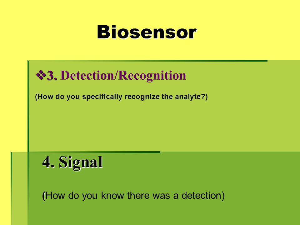 Biosensor 4. Signal 3. Detection/Recognition