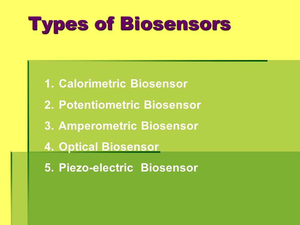 Types of Biosensors Calorimetric Biosensor Potentiometric Biosensor