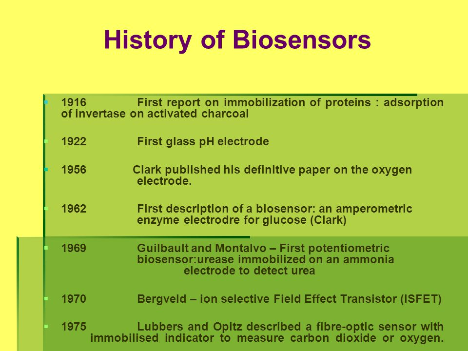 History of Biosensors 1916 First report on immobilization of proteins : adsorption of invertase on activated charcoal.