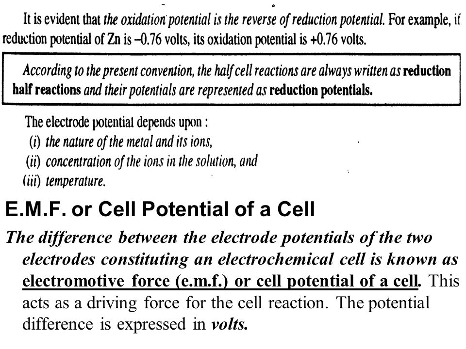 E.M.F. or Cell Potential of a Cell