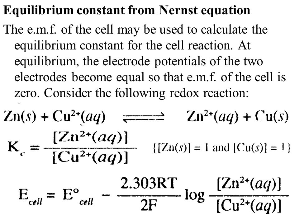 Equilibrium constant from Nernst equation