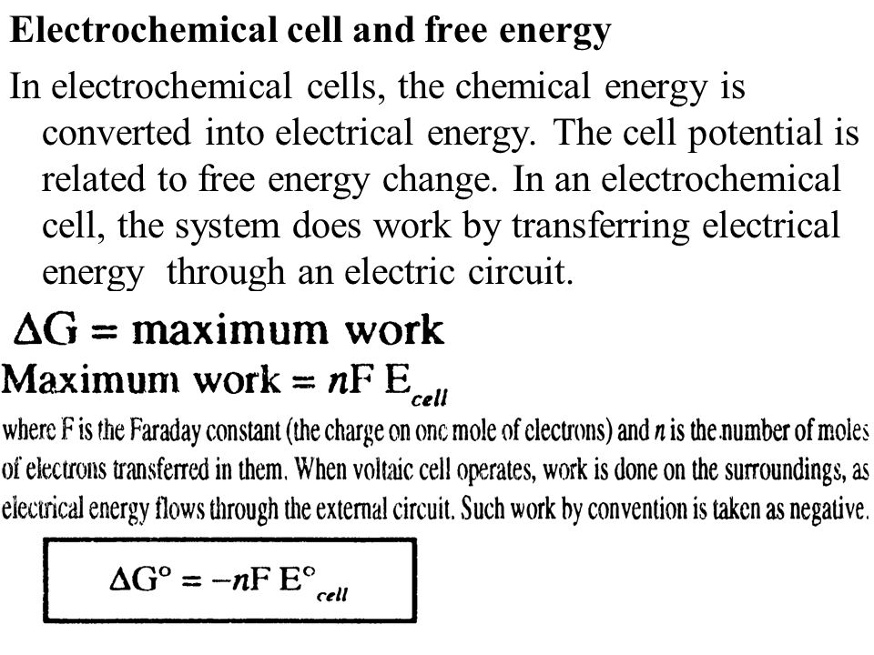 Electrochemical cell and free energy