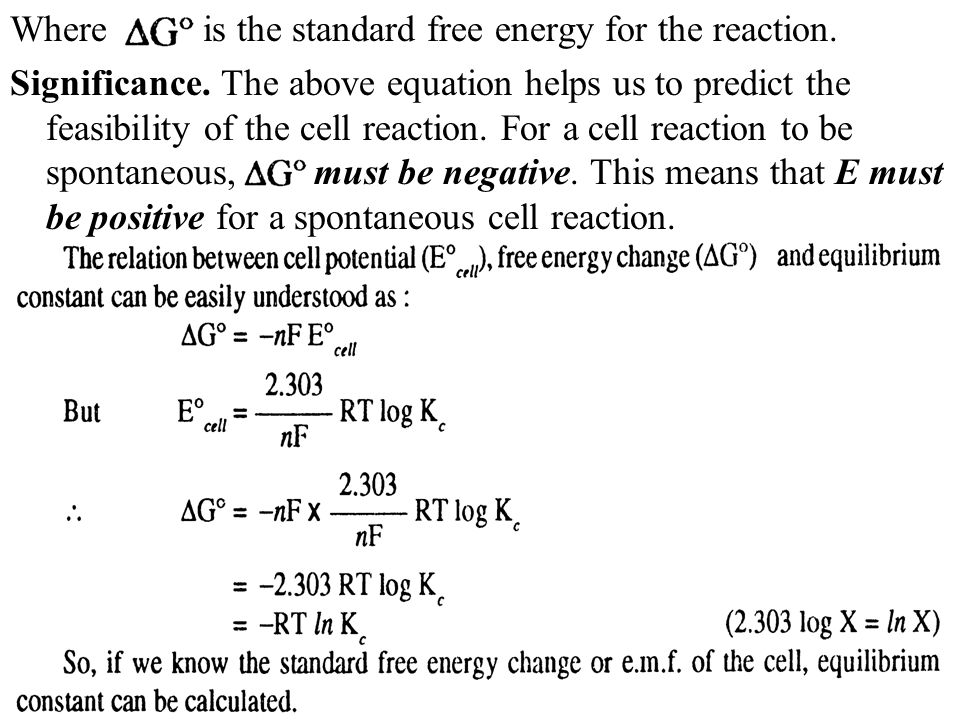 Where is the standard free energy for the reaction.