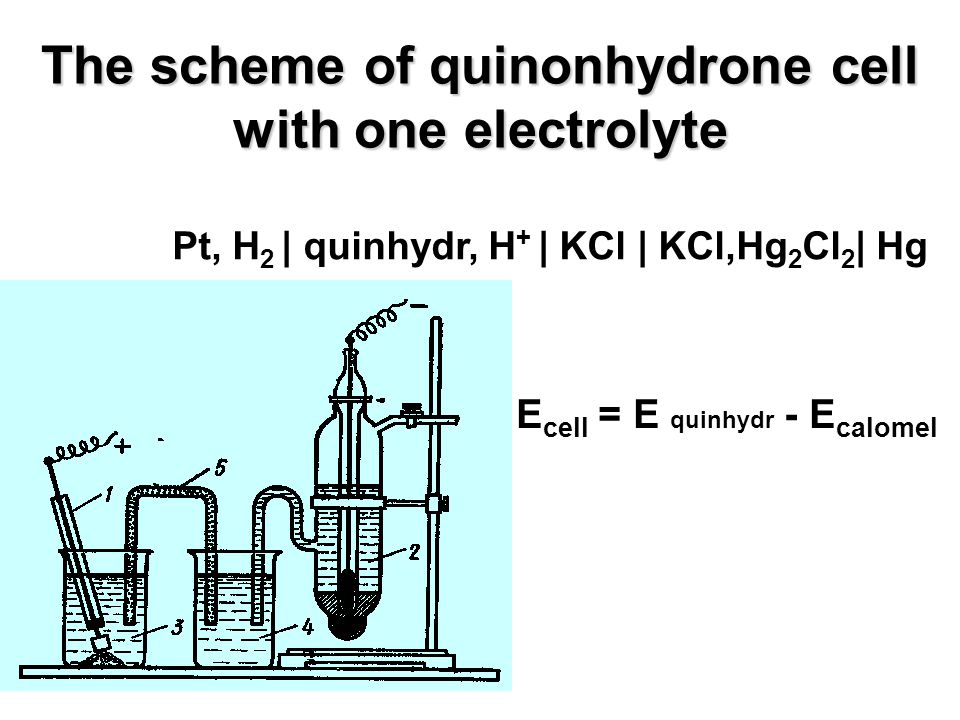 The scheme of quinonhydrone cell with one electrolyte