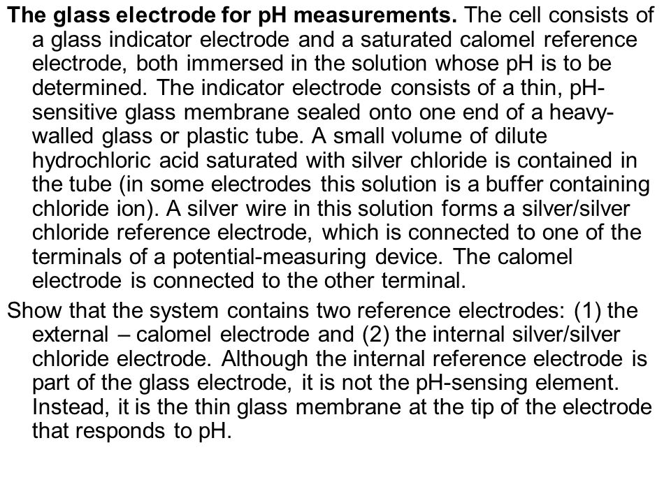 The glass electrode for pH measurements