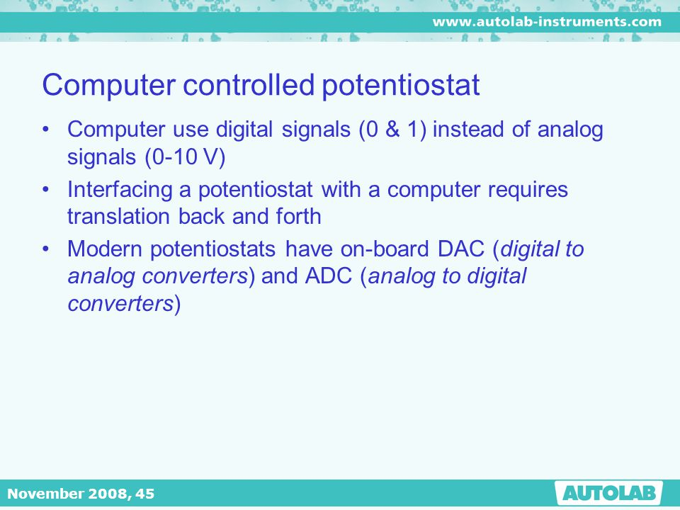 Computer controlled potentiostat