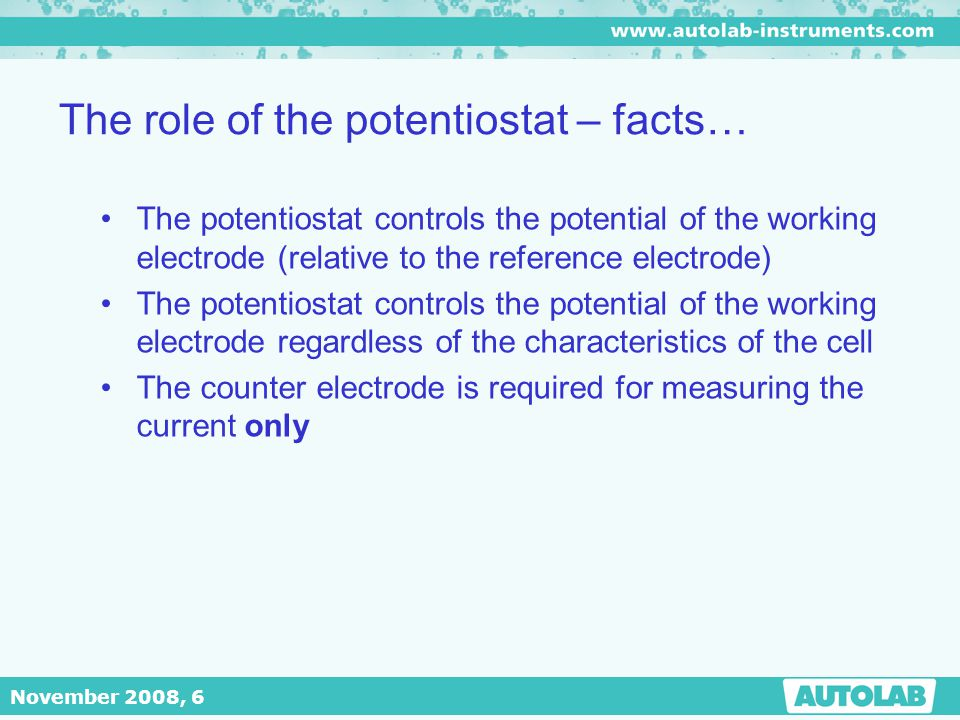 The role of the potentiostat – facts…