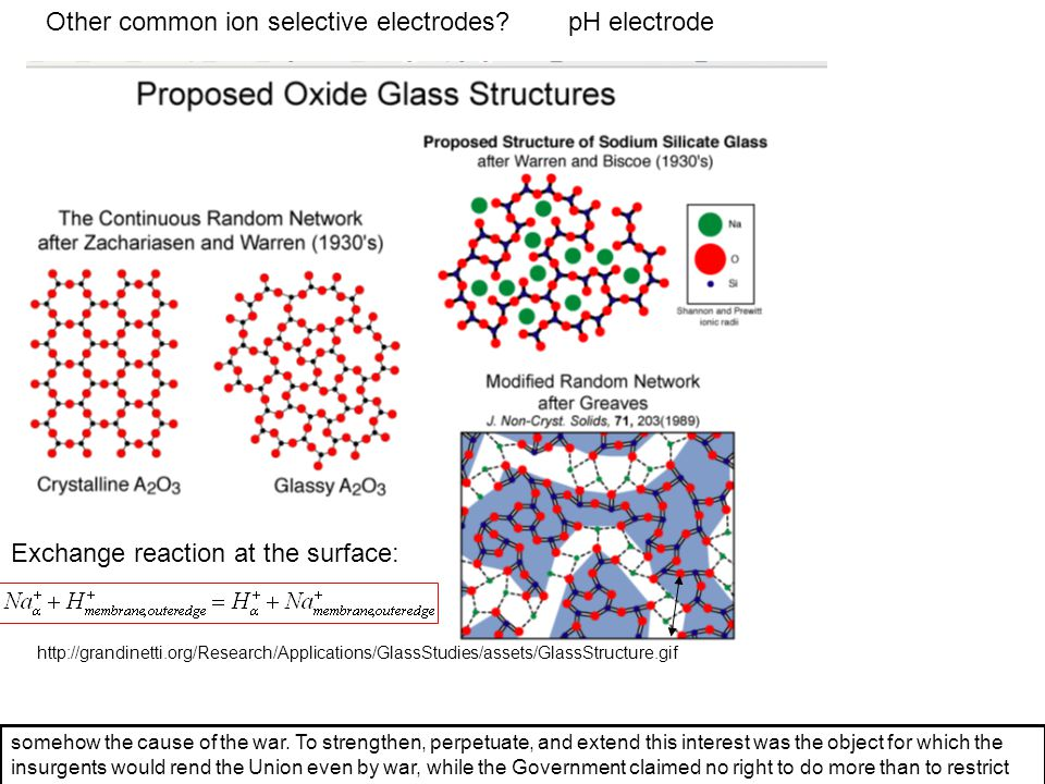 Other common ion selective electrodes pH electrode