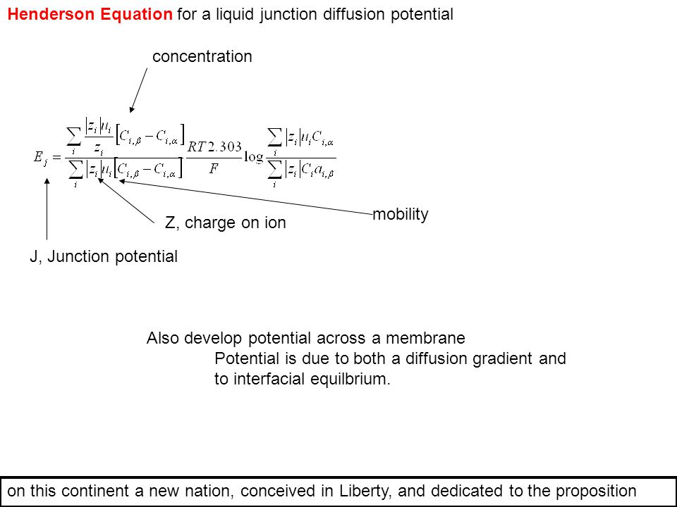 Henderson Equation for a liquid junction diffusion potential