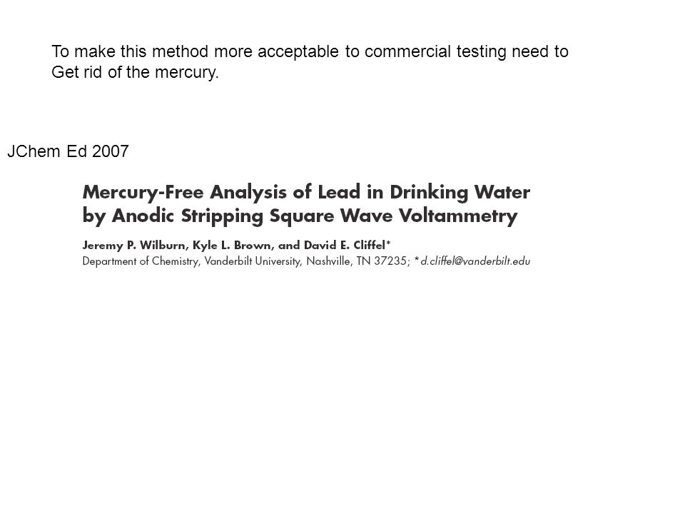 To make this method more acceptable to commercial testing need to