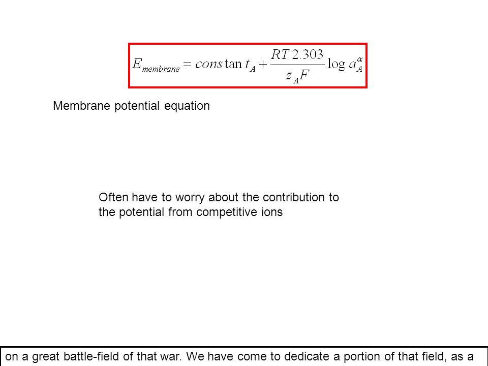 Membrane potential equation