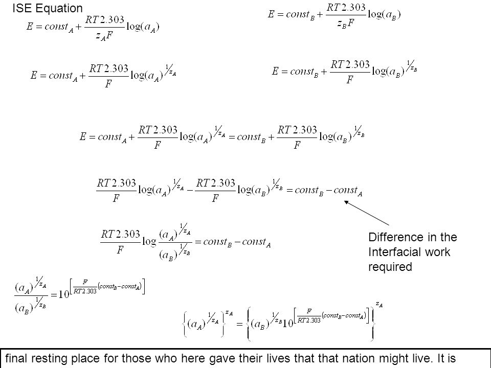 ISE Equation Difference in the. Interfacial work. required.