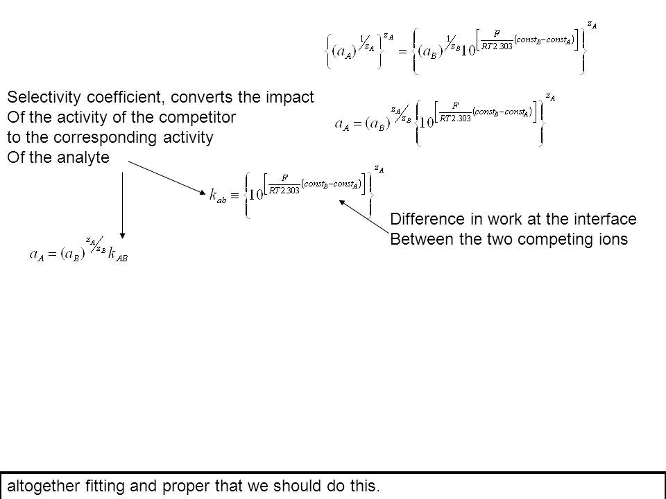 Selectivity coefficient, converts the impact