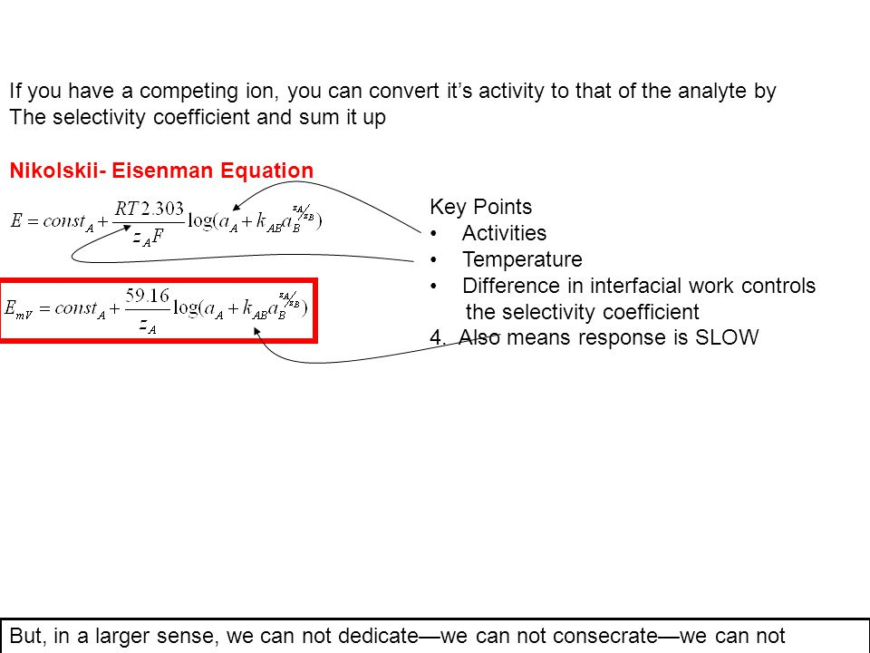 If you have a competing ion, you can convert it's activity to that of the analyte by