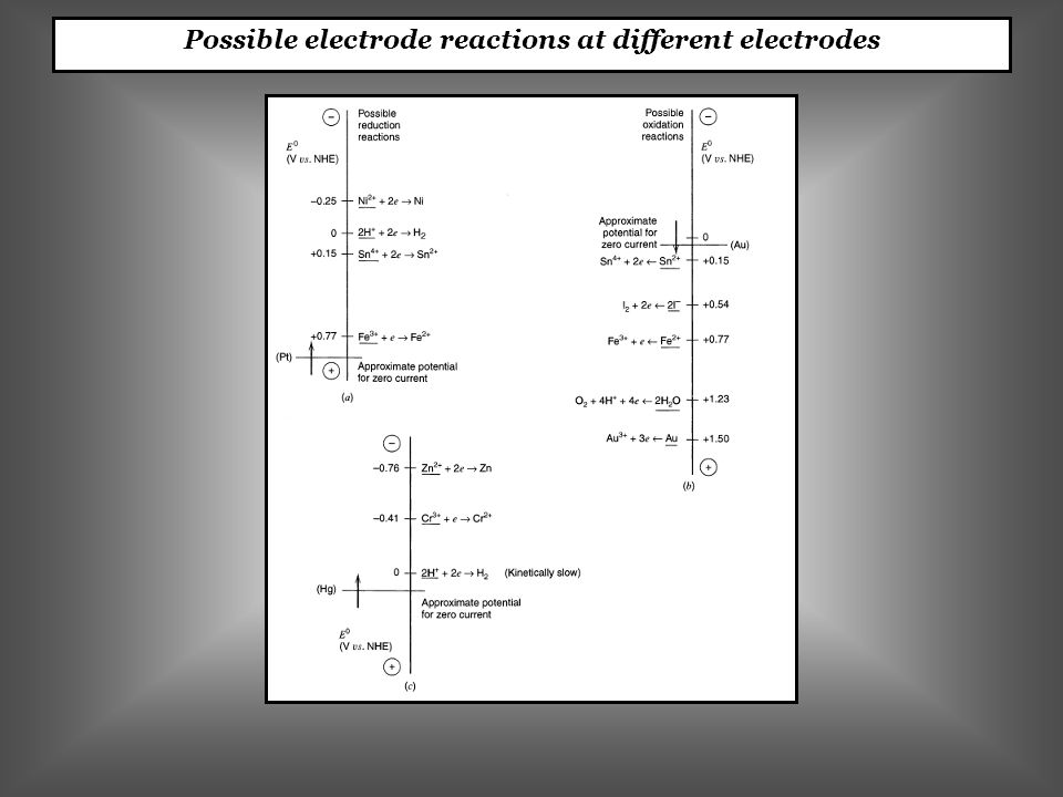 Possible electrode reactions at different electrodes