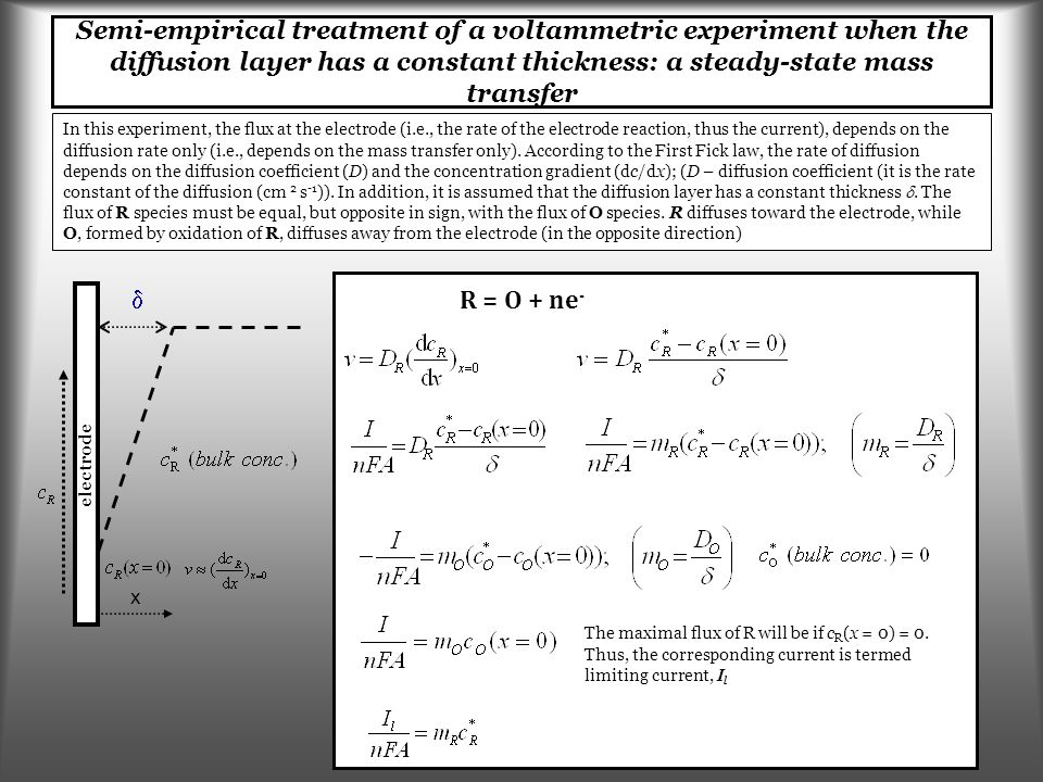 Semi-empirical treatment of a voltammetric experiment when the diffusion layer has a constant thickness: a steady-state mass transfer