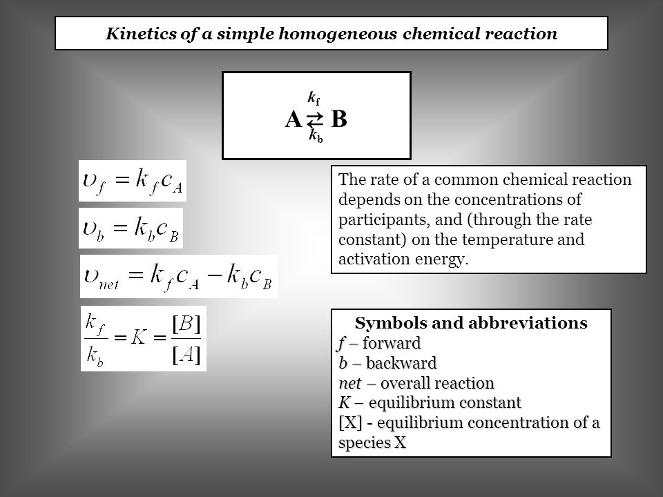 Kinetics of a simple homogeneous chemical reaction